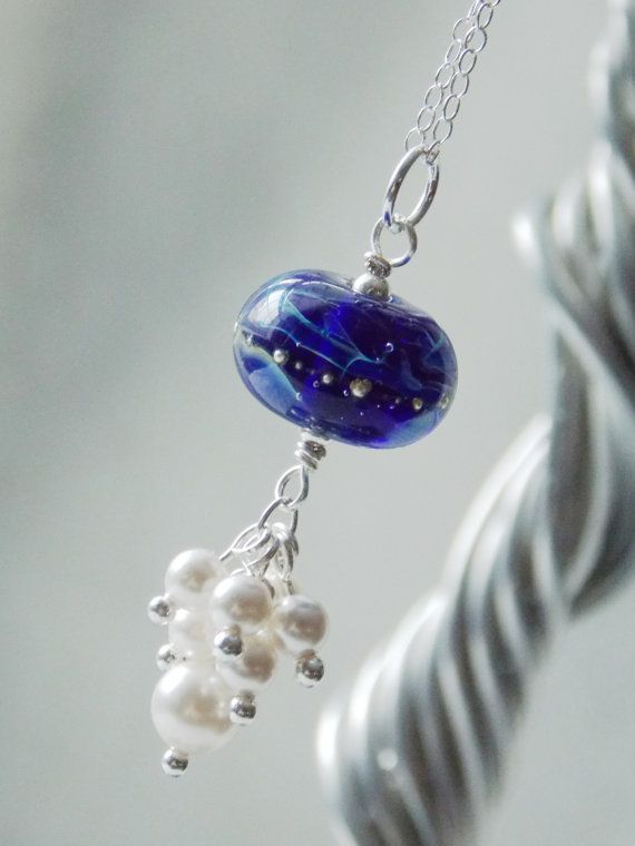 Artisan Hand-made Lampwork Glass Bead Ocean Cluster Necklace