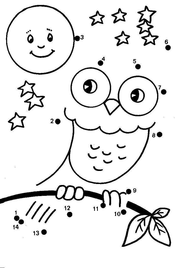 cartoon owl dot to dot coloring pages