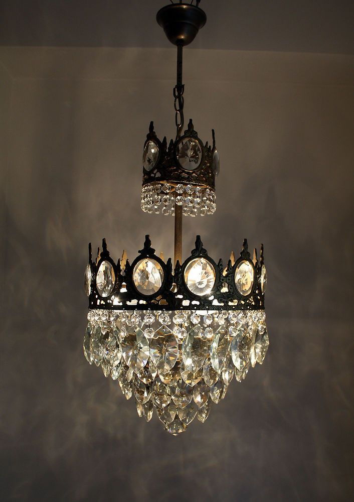 Antique French Basket Style Brass Crystals Chandelier From