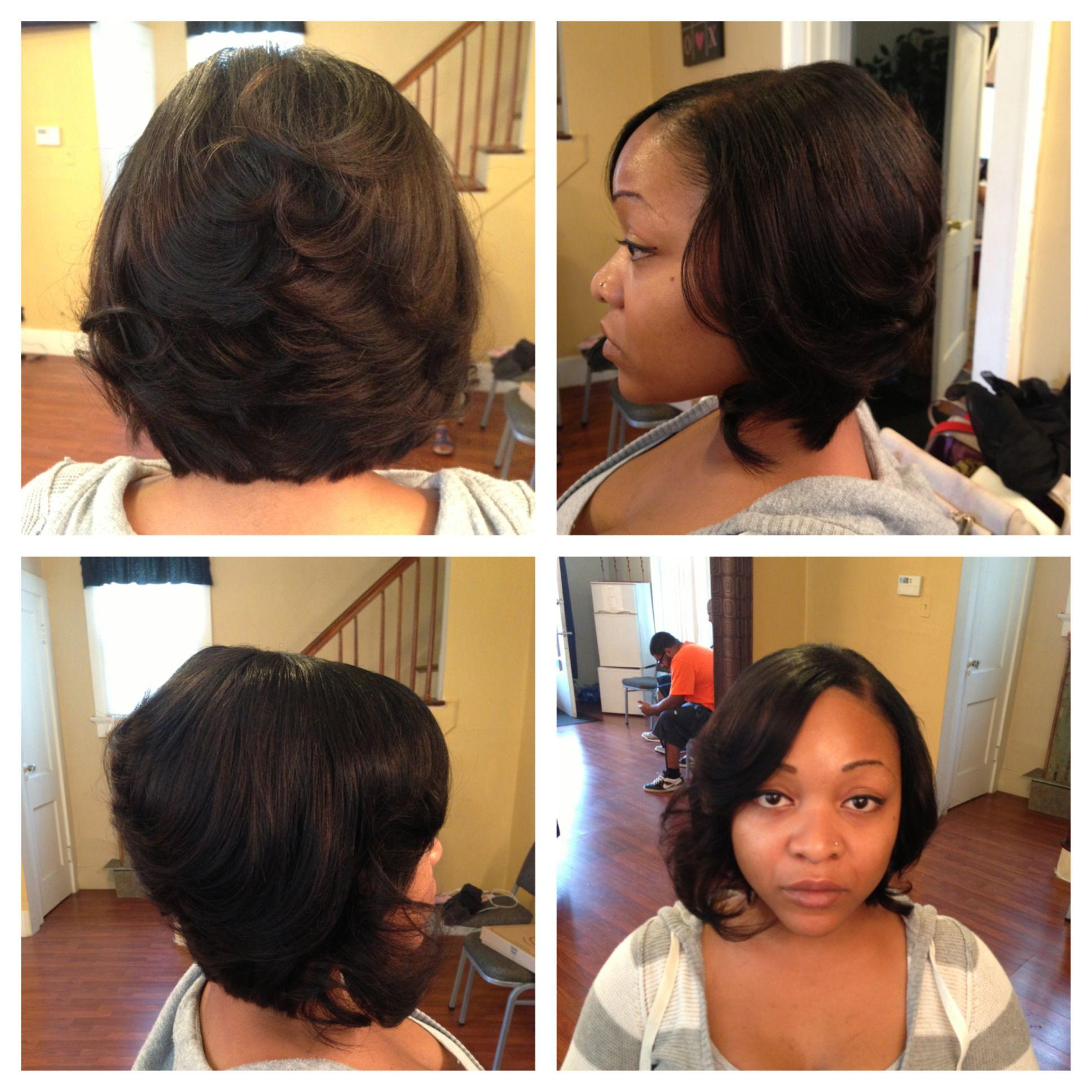 Quick weave feathered bob by R DeVonne