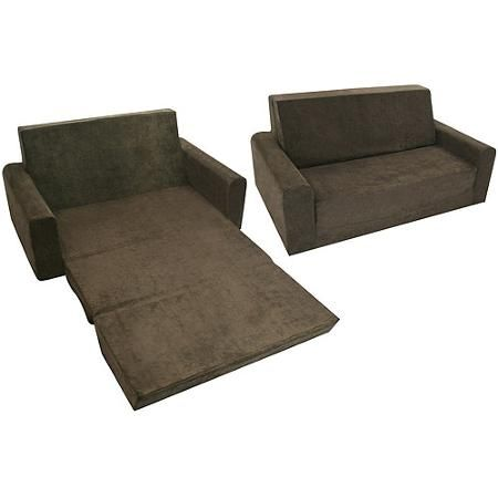 Marvelous Full Size Microfiber Flip Sofa, Chocolate