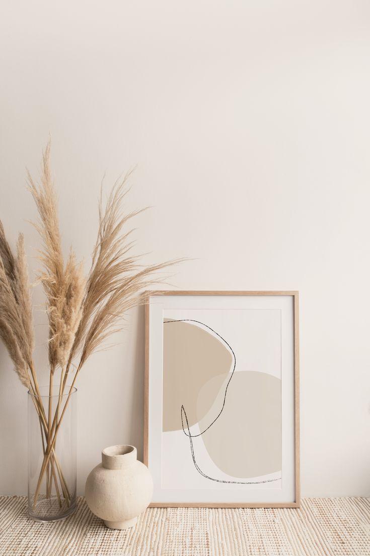 Neutral line art print  line art  digital wall art  minimal | Etsy in 2020 | Digital wall art, Neutr