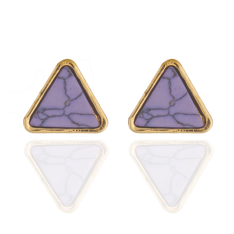 Smart Triangular Purple Colour Alloy Ear Studs for Girls & Women