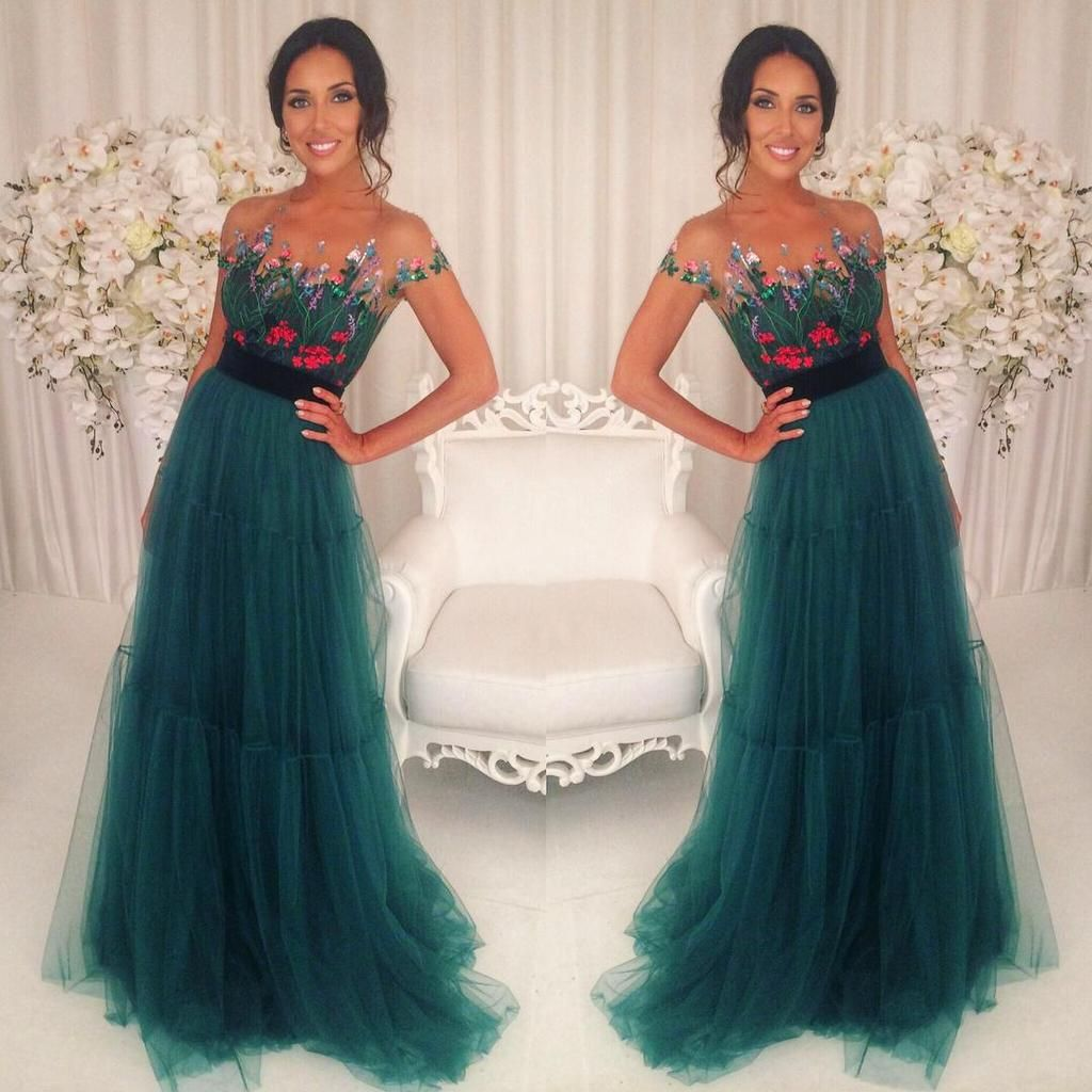 formal charming short sleeves tulle teal long prom dress