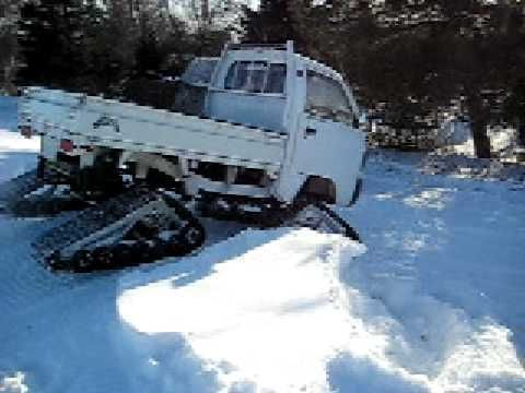 Suzuki Carry Kei Truck on ATV tracks 4x4 Snowtracks