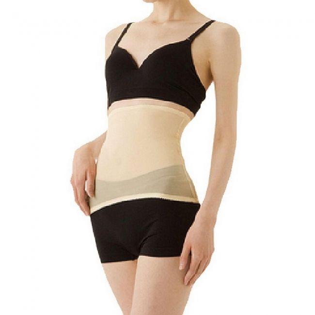 GYB-06124 Women Pullover Sheer Waist Slimming Waist Shaper Corset Trimmer (EU Size 32 / UK Size 6) Flesh Color / Black