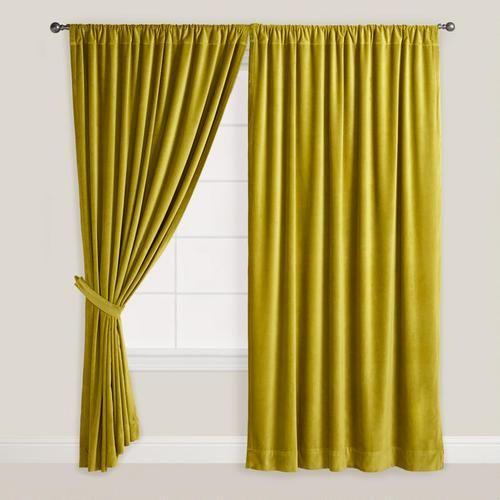 High Quality Green Velvet Oasis Curtain, World Market