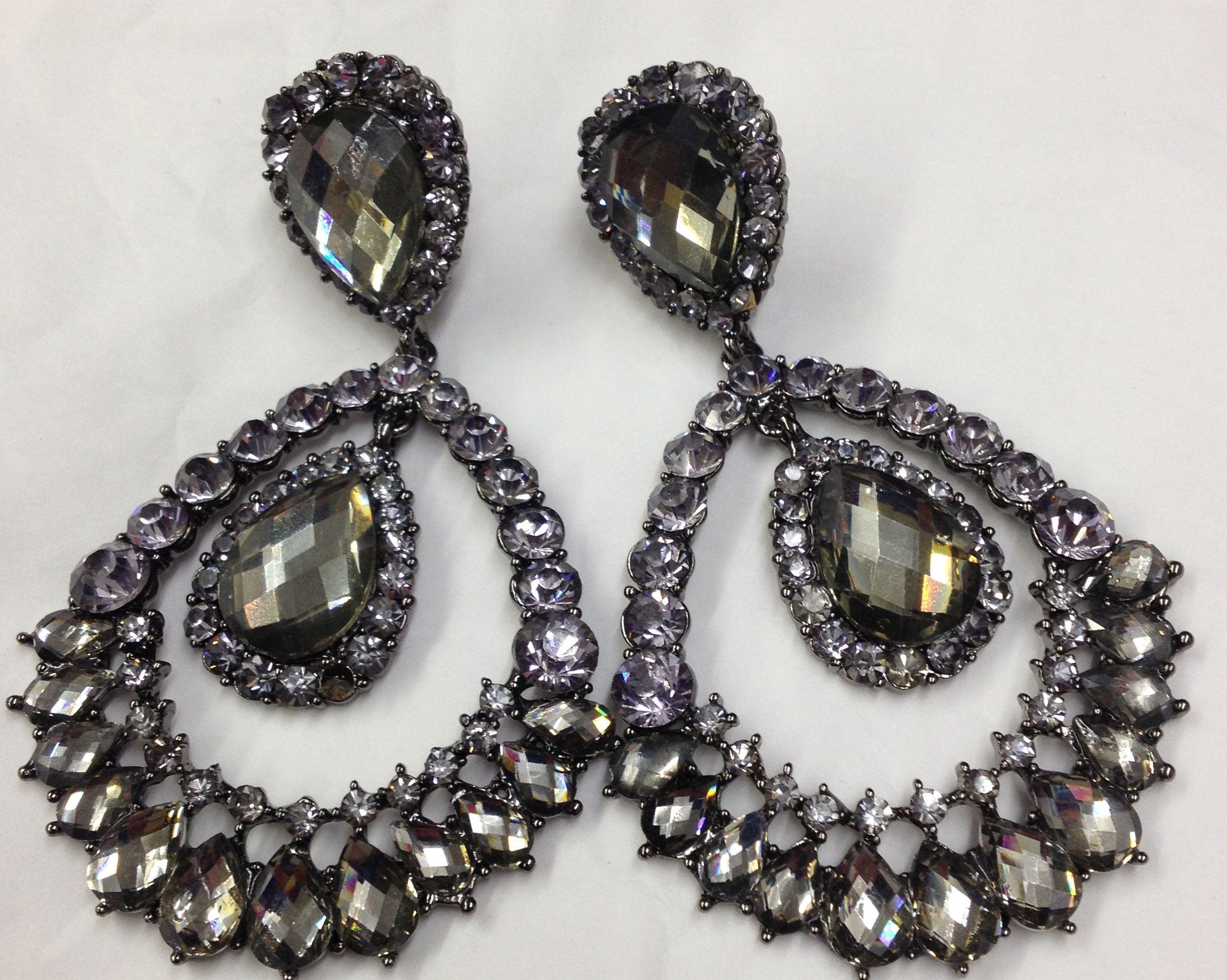 Large Black Chandelier Clip On Earrings