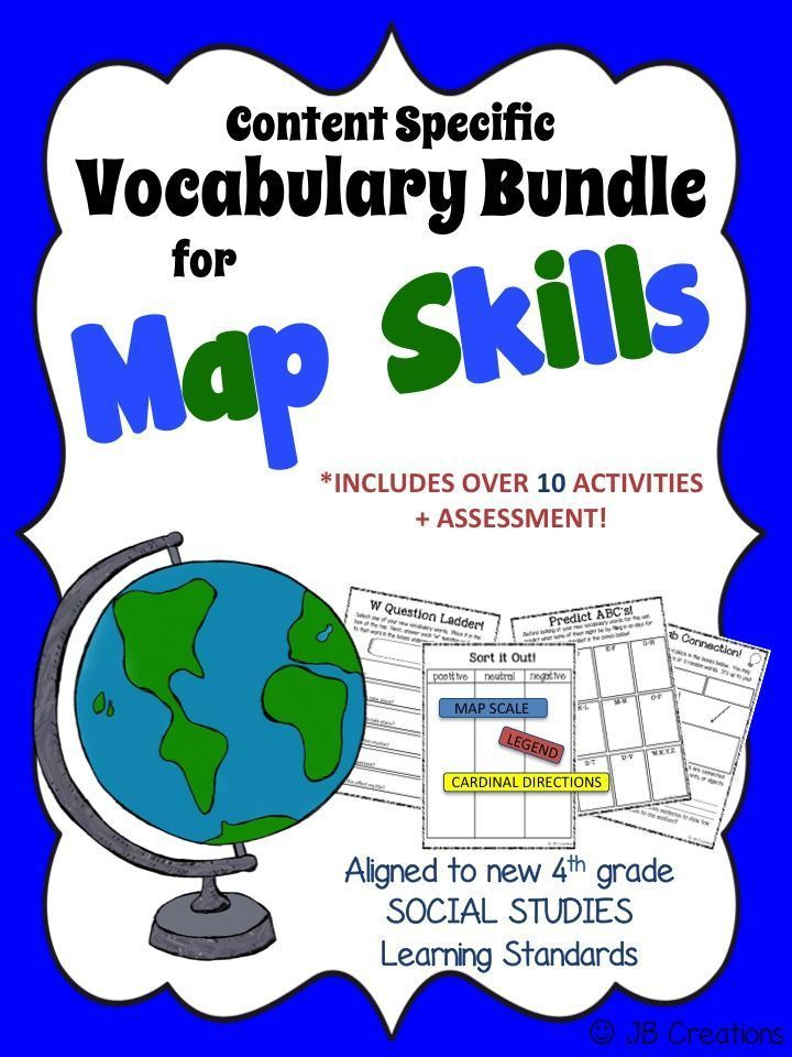 4th Grade Map Skills Content Specific Vocabulary Activity Pack (Ohio