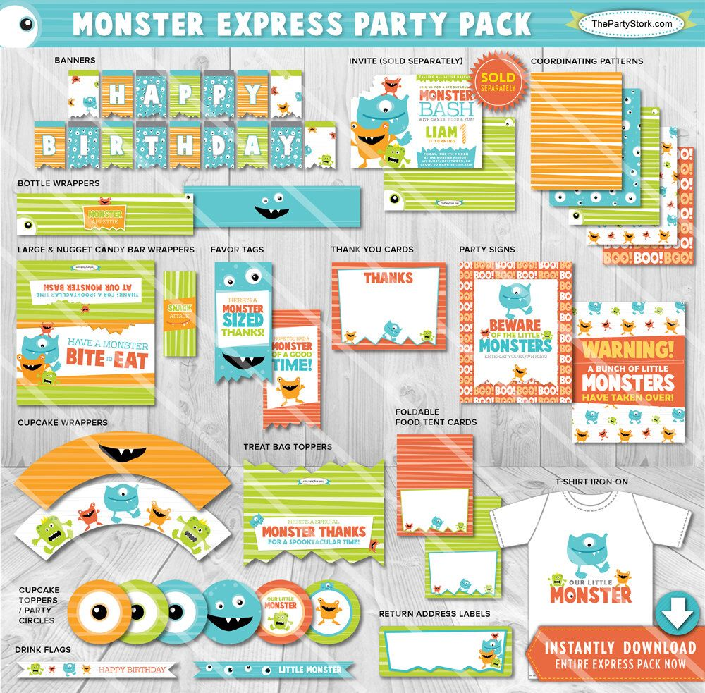Monster Party Decorations Printables Supplies Printable Package Litte Birthday