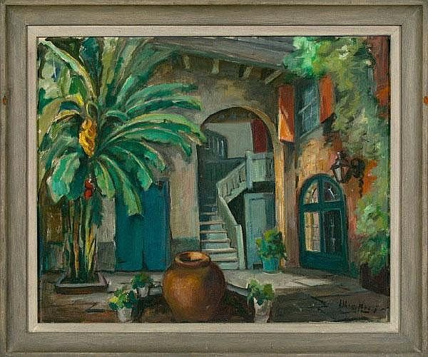 """Alberta Kinsey (American/New Orleans, 1875-1955) """"Brulatour Courtyard"""", oil on canvas, 27"""" x 22-1/2"""", signed lower right """"Alberta Kinsey"""". Presented in a carved and polychromed frame."""