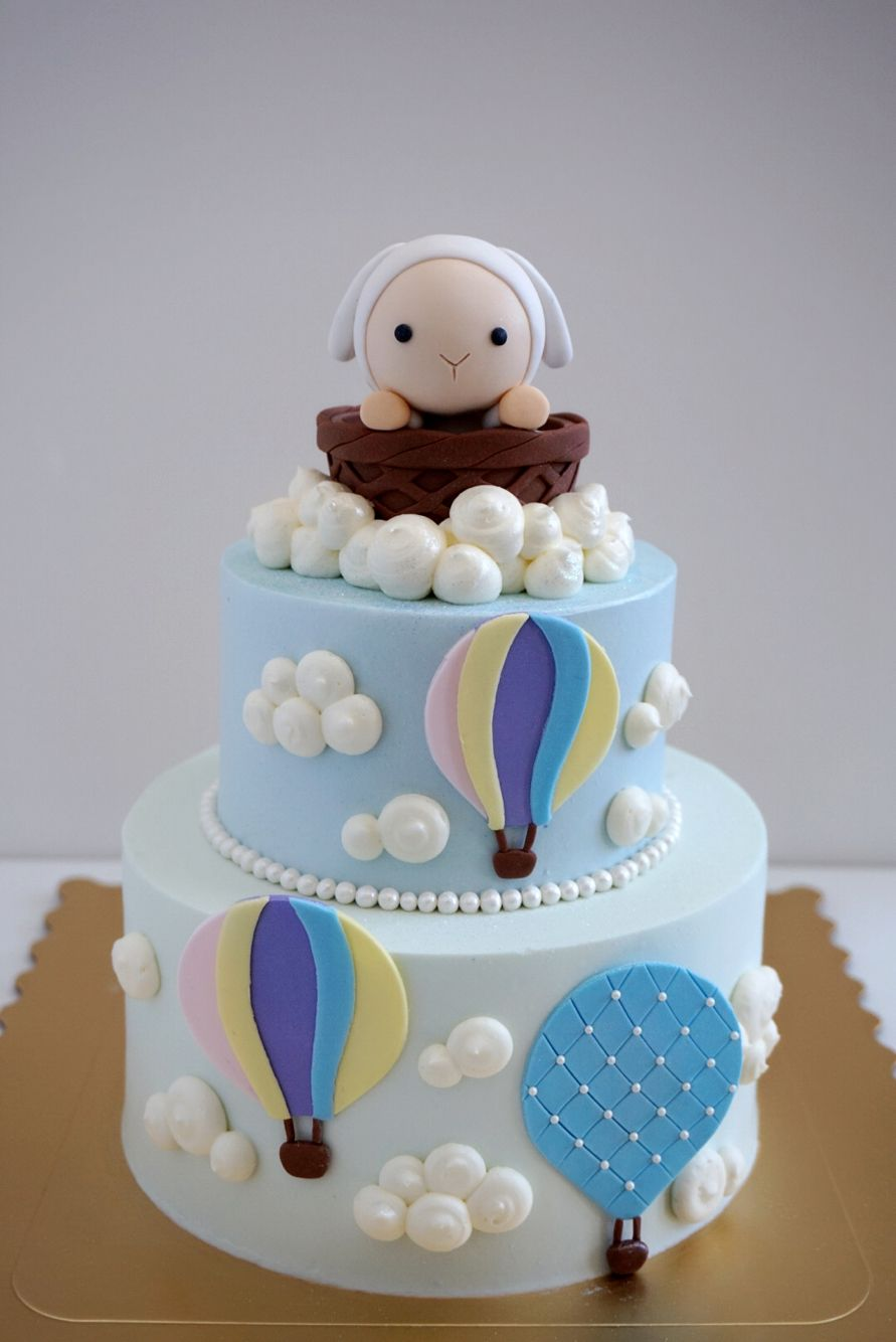 Two Tier Baby Sheep And Hot Air Balloons Custom Cakes And - Sheep cakes birthday