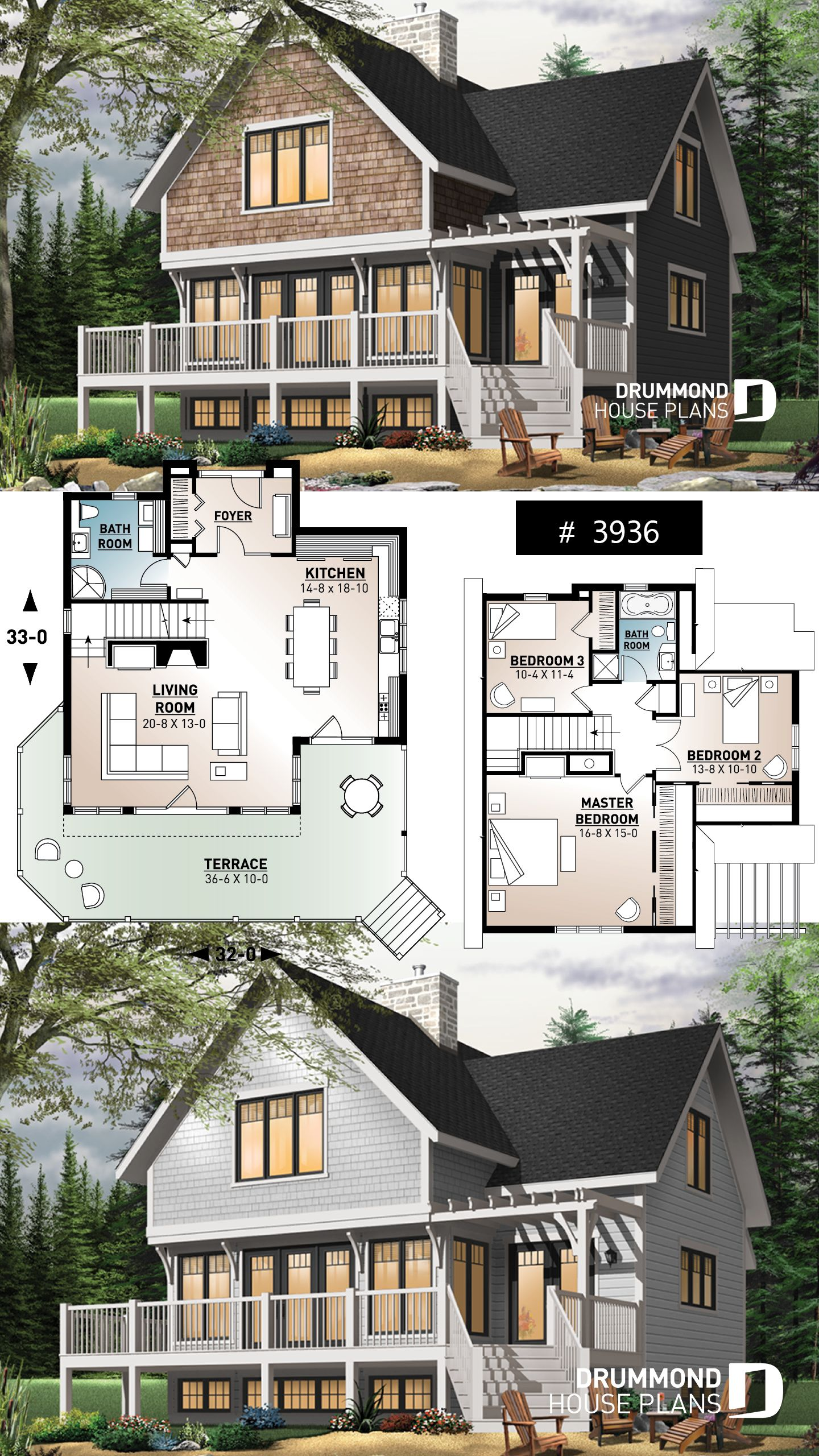 Discover The Plan 3936 Cotswold Which Will Please You For Its 3 Bedrooms And For Its Vacation And Waterfront Styles Sims House Plans Cottage House Plans House Plans