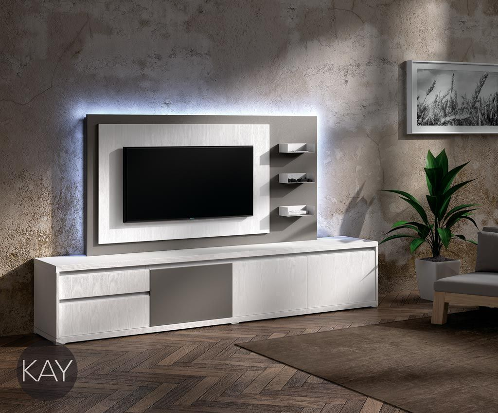 Muebles tv con iluminaci n led del cat log kay de for Ver modulares modernos