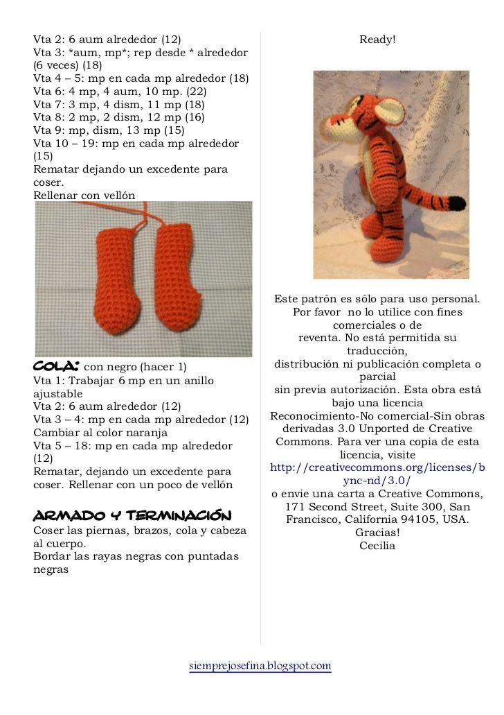 Tigger .. | croché | Pinterest | Patrones amigurumi, Patrones y Tejido