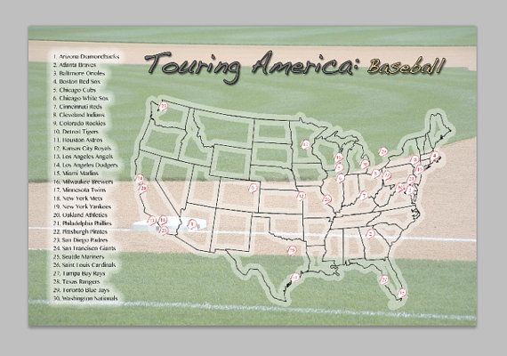 MLB Stadium Checklist USA Map Poster with Stickers- 18 x 24 ...