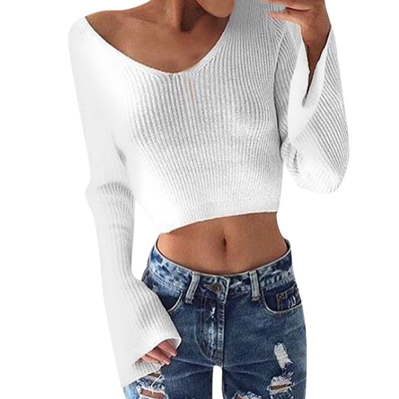 200a592811538a Women white sweater v-neck flare long sleeve knitting crop top pullover  knitwear autumn winter blouse woman sweater tops clothes   polyester