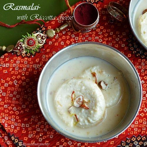 Divya S Culinary Journey Rasmalai With Ricotta Cheese Indian Desserts Recipe Using Ricotta Ricotta Cheese Recipes