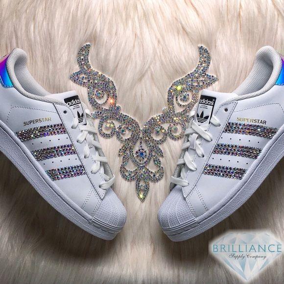 Adidas Superstar Hologram Shoes - AB Swarovski Custom listing for exclusive Adidas  Superstar Hologram shoes blinged with AB Swarovski® crystals on 6 outer ... 8673d7a929