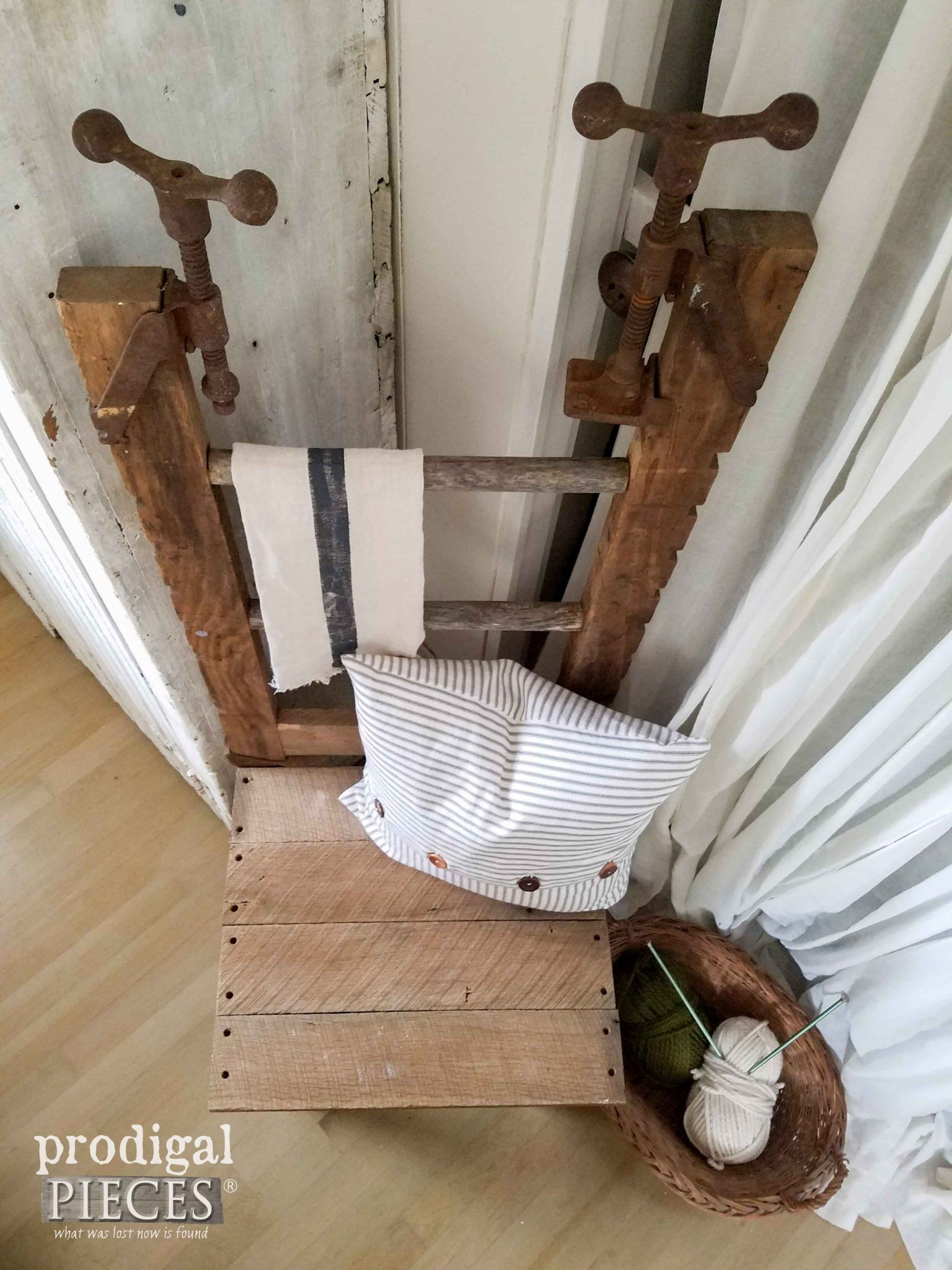 Top View of Repurposed Antique Clamp, Ladder, and Barn Wood Chair by Prodigal Pieces | prodigalpieces.com