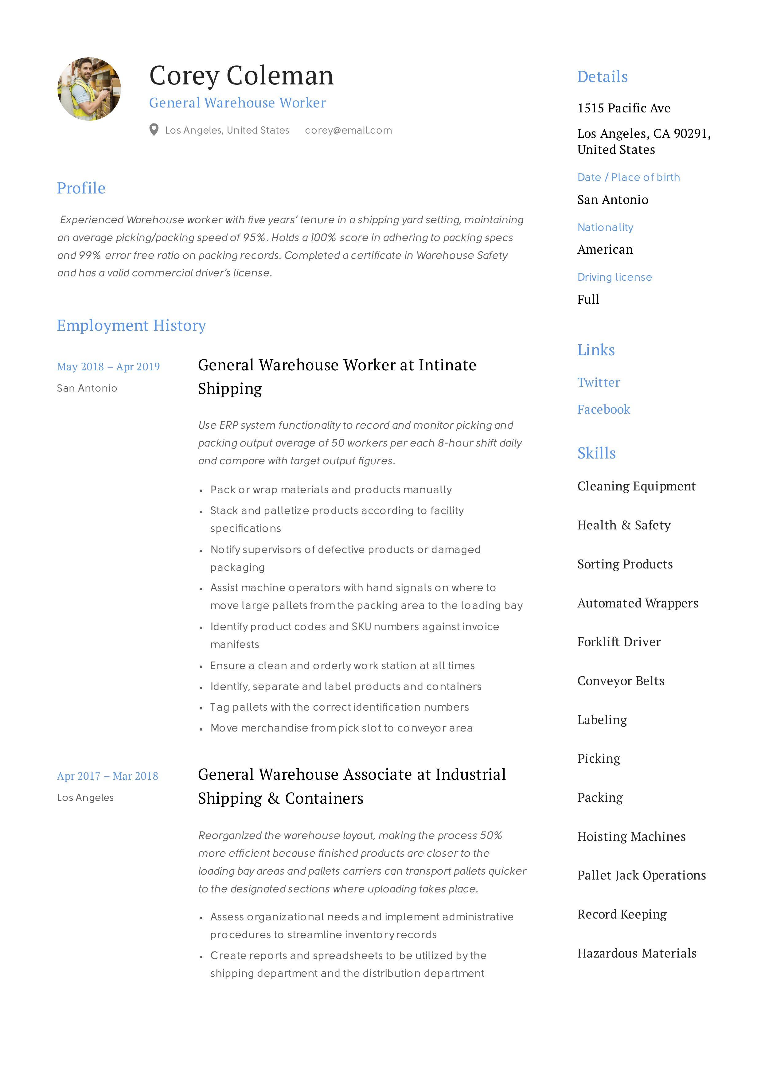 General warehouse worker resume template in 2020