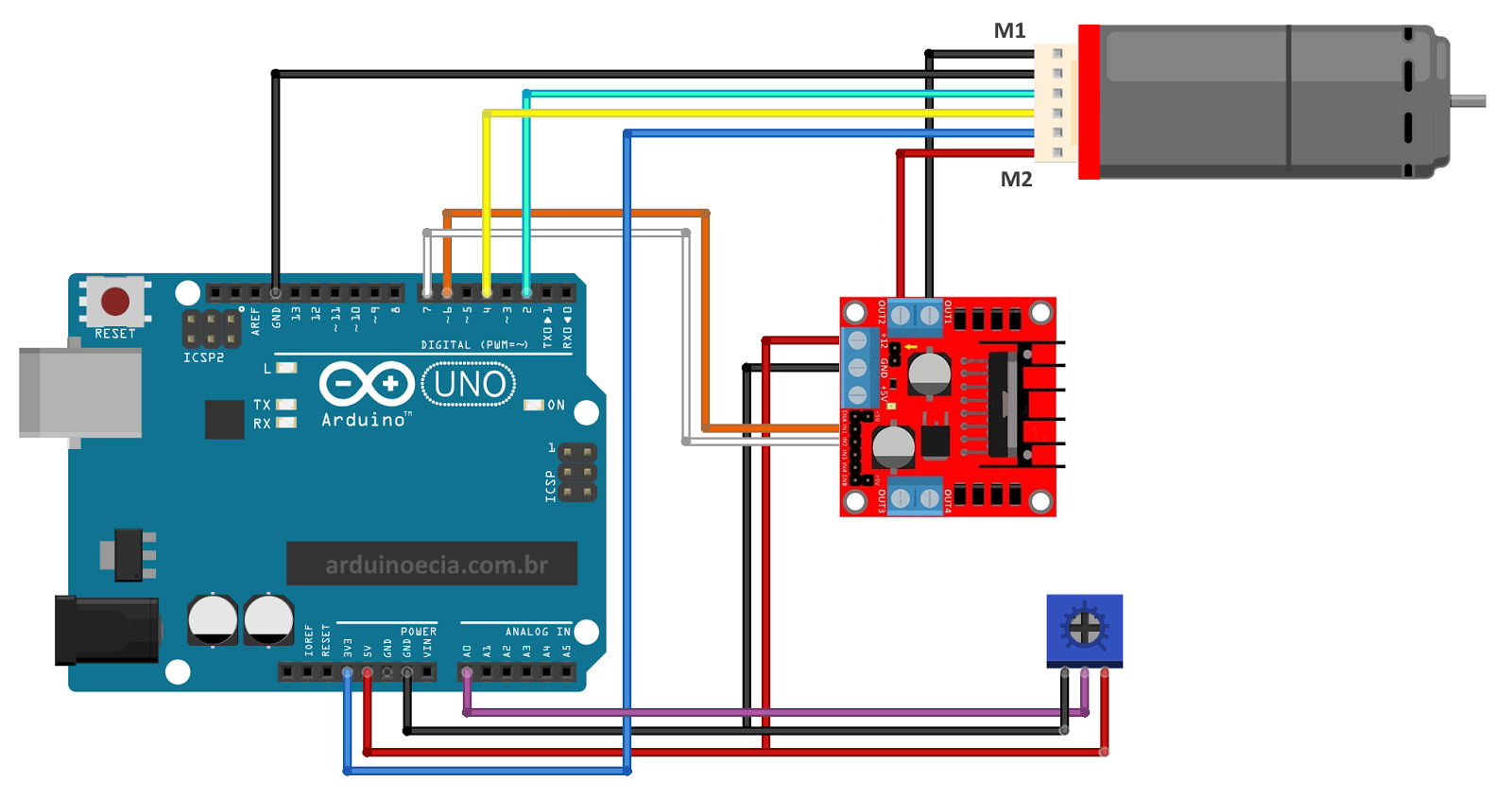 arduino circuit one dc motor with encoder [ 1600 x 845 Pixel ]