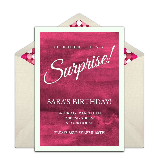 A Great Free Surprise Party Invitation Featuring Watercolor Design We Love This For Inviting Friends To Fun Birthday