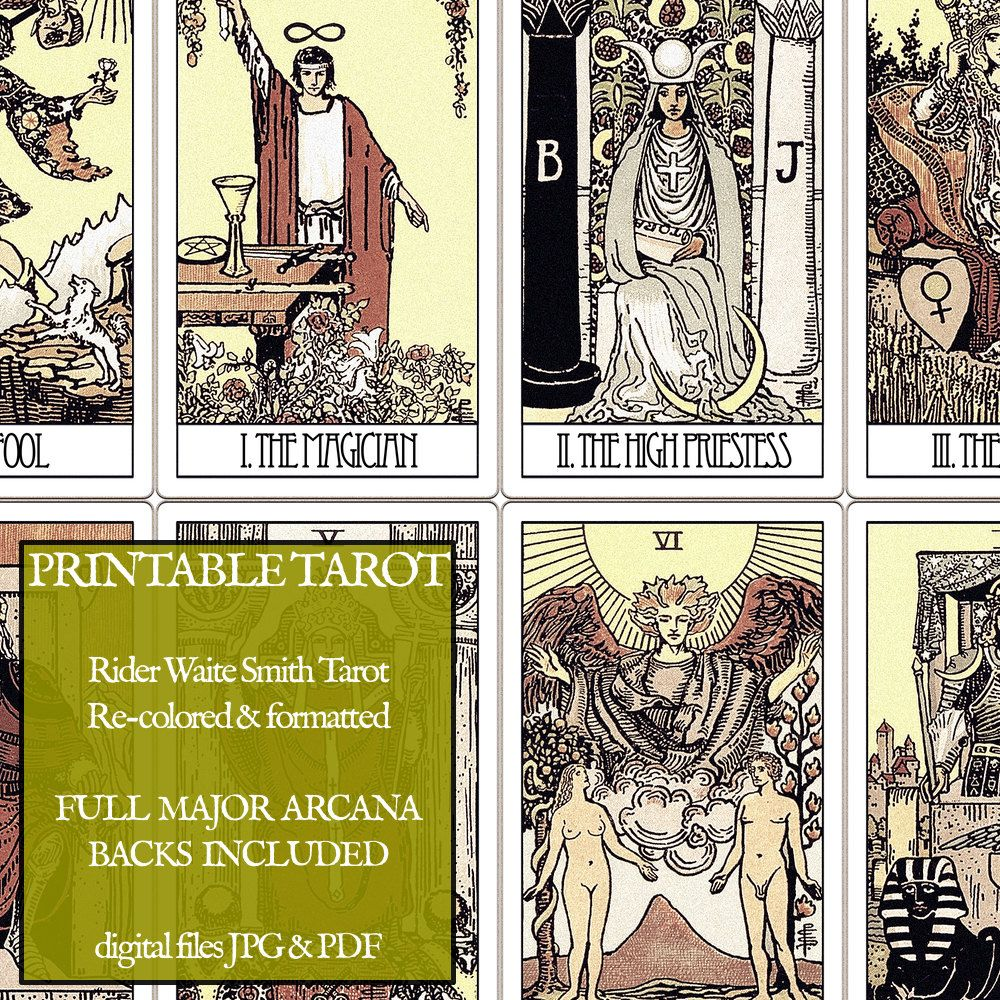 This is a photo of Invaluable Printable Tarot Cards to Color