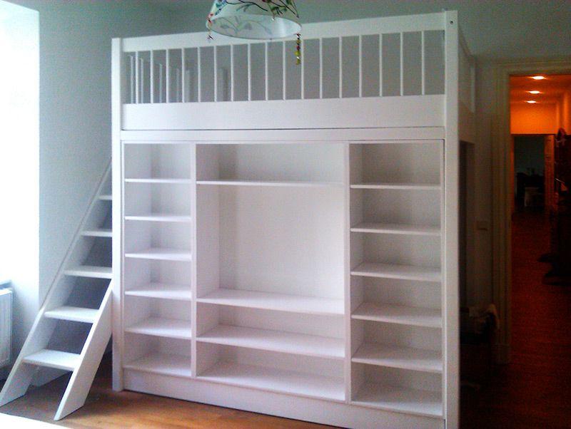 bild 32 hochbett rundstabgel nder integriertes regal wei lasiert hochbetten pinterest. Black Bedroom Furniture Sets. Home Design Ideas