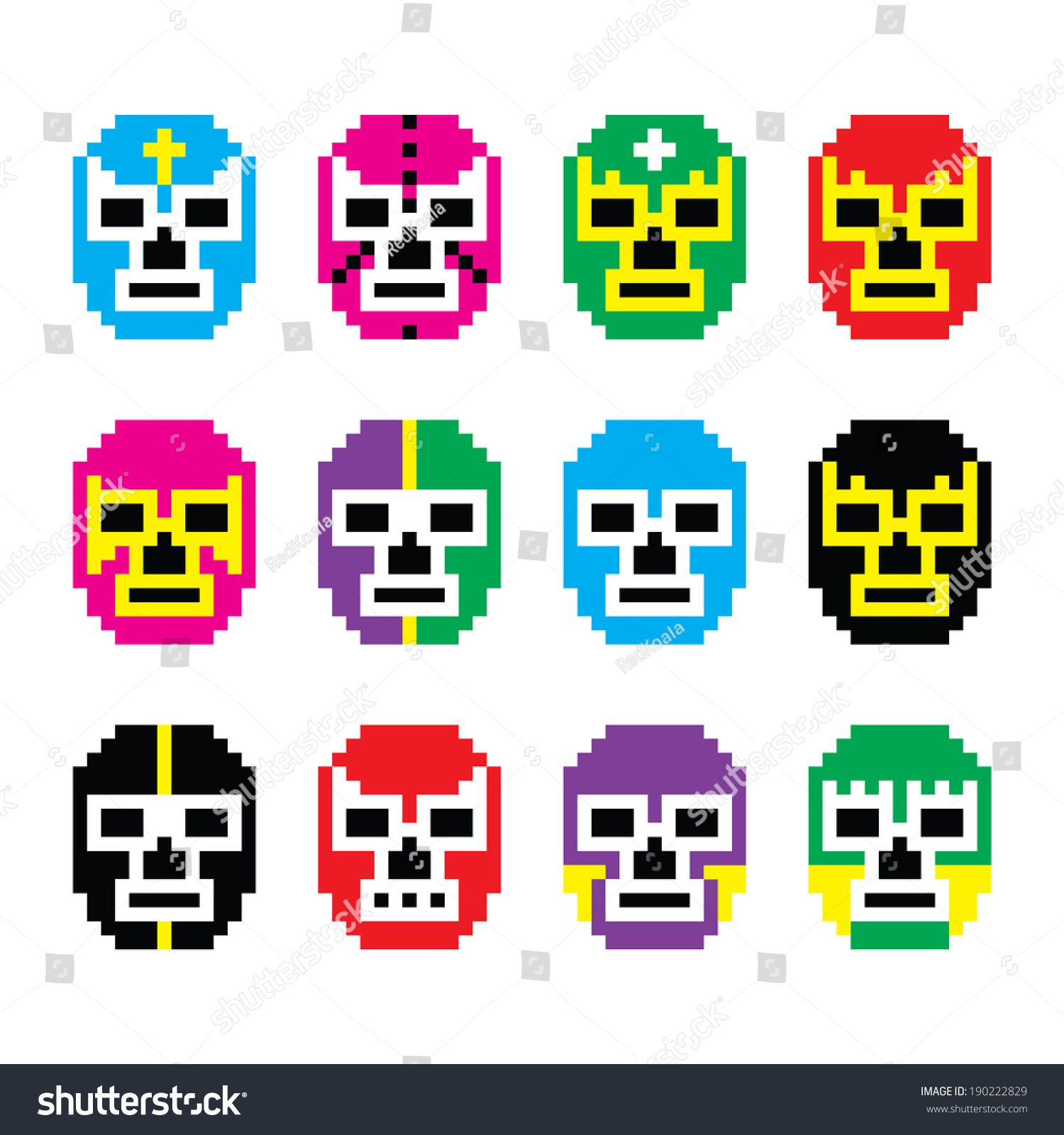 Lucha Libre, luchador pixelated Mexican wrestling masks icons ...