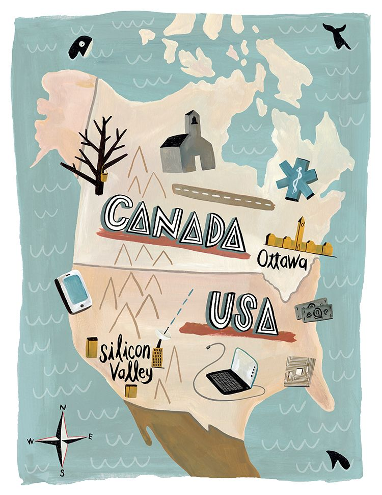Canada vs. US. Map illustration by Mark Hoffmann. Represented by i2i Art Inc. #i2iart
