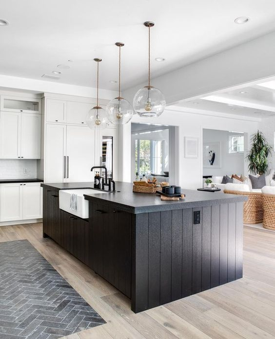 these 12 white kitchens with dark islands prove contrast is key in 2020 beautiful kitchen on t kitchen ideas id=77694