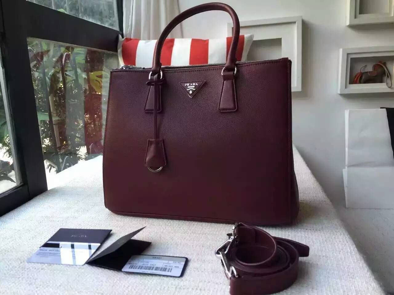 ffea09acdad4c7 Prada Spring 2016 Galleria Bag Outlet-Prada Burgundy Galleria City Calf Leather  Bag with Royal Blue Lining