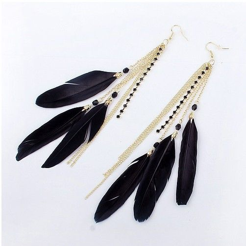 White Long 3 Feather Tassel Chains Earrings Jewelry Sets