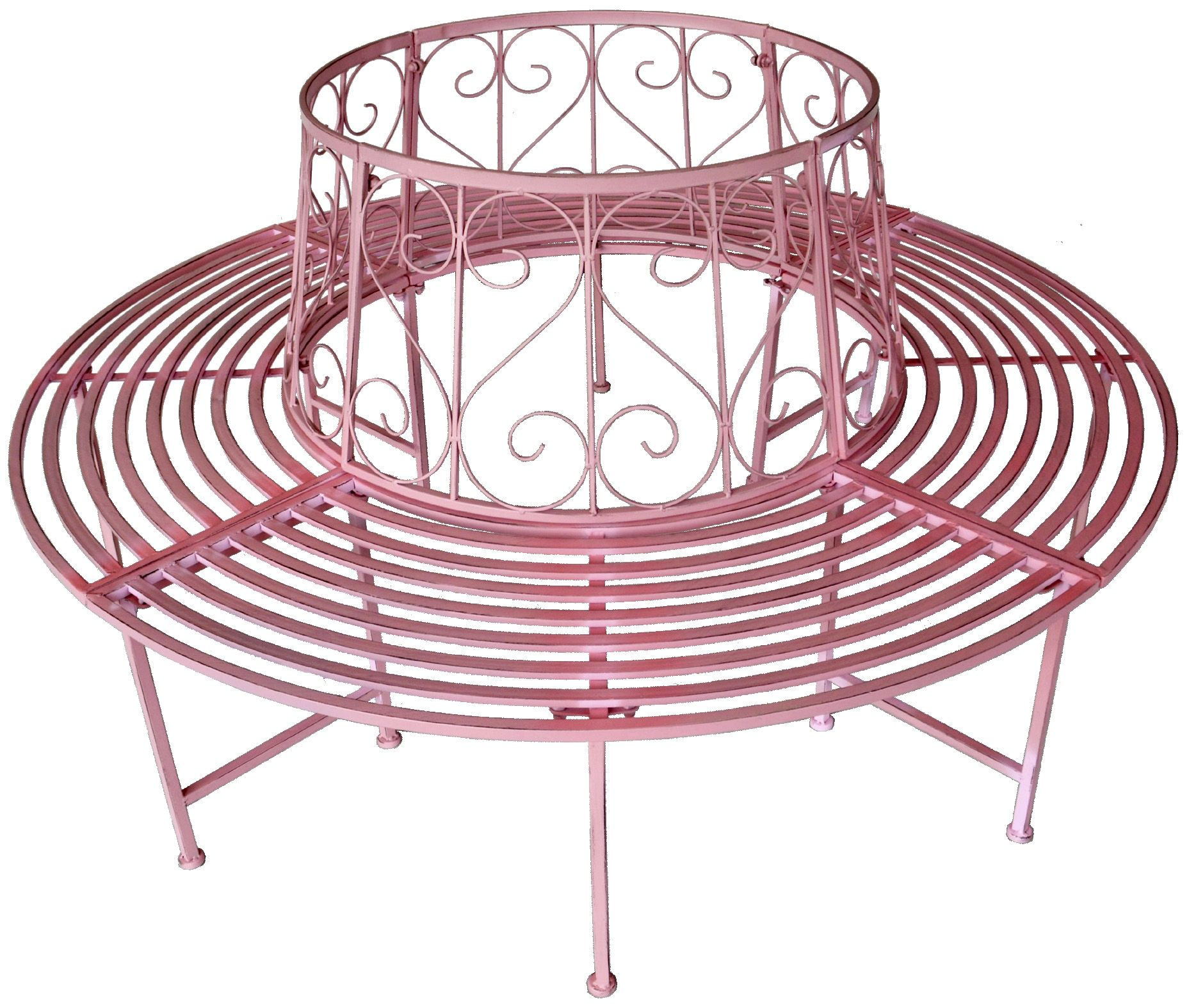 Pink Metal Outdoor Bench Tree Bench Bench Wrought Iron Pink