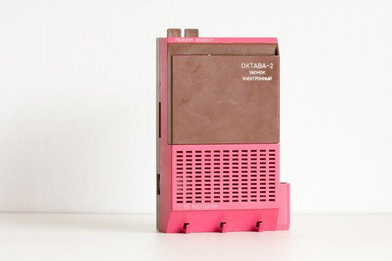 Electronic Doorbell Oktava 2 Vintage Ukranian Electronic Doorbell Purple Raspberry Pink Chocolate Brown Pastel Summer Ohtteam Doorbell Vintage Key Hanger