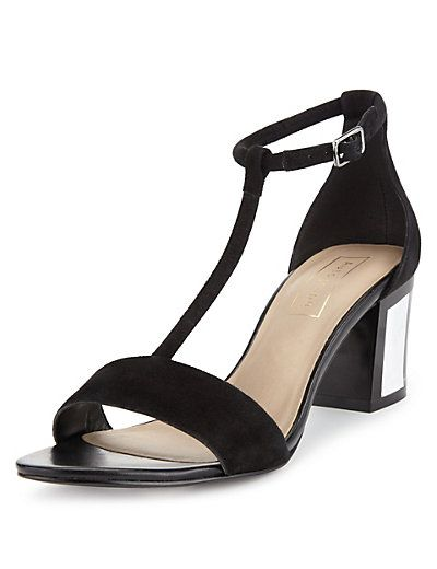 Suede T-Bar Block Heel Sandals with Insolia® Clothing