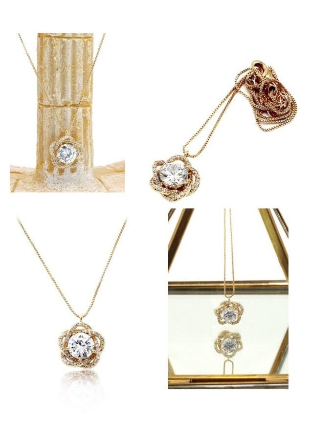 Lovely crystal flower gold necklace | Crystal flower, Gold ...
