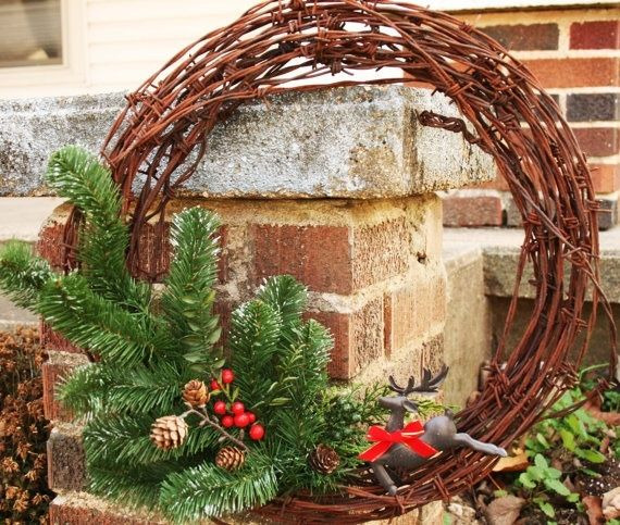 Recycled barbed wire Winter Wreath by Littlebrownbyrd on Etsy, $45.00 by aulolauk