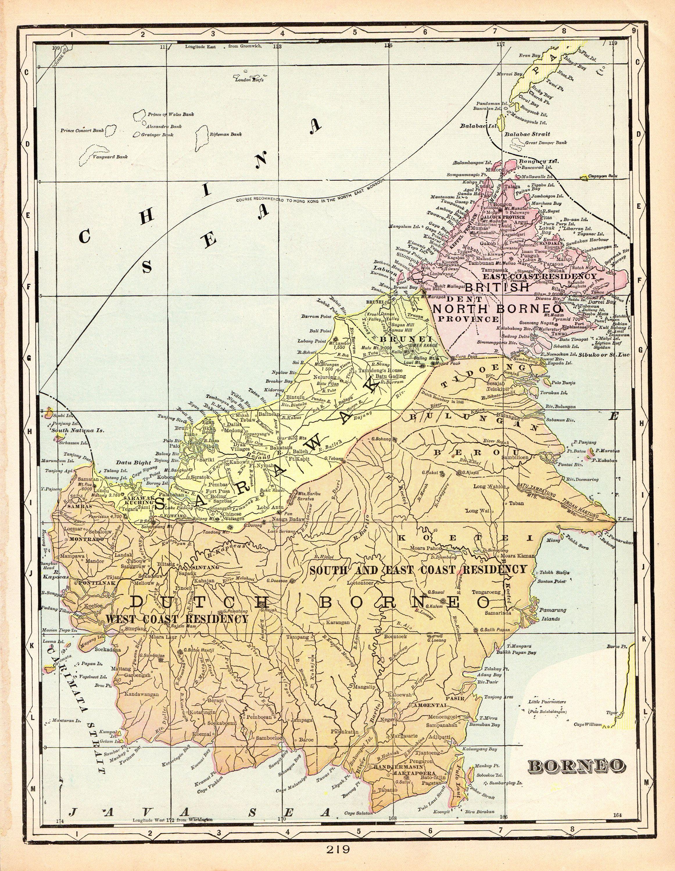 1901 Antique Borneo Map Indonesia Map Original Vintage Borneo Map World Map Decor Art Gallery Wall