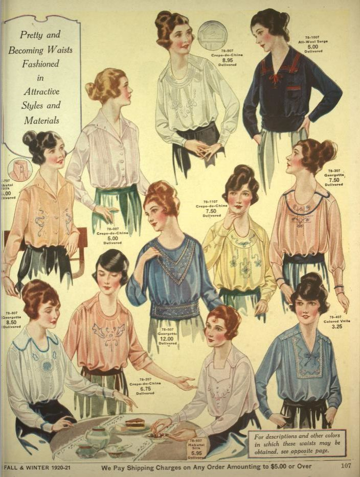 Más tamaños | Eaton\'s Catalogue for 1920-21: Ladies Blouses (Plate 1 ...