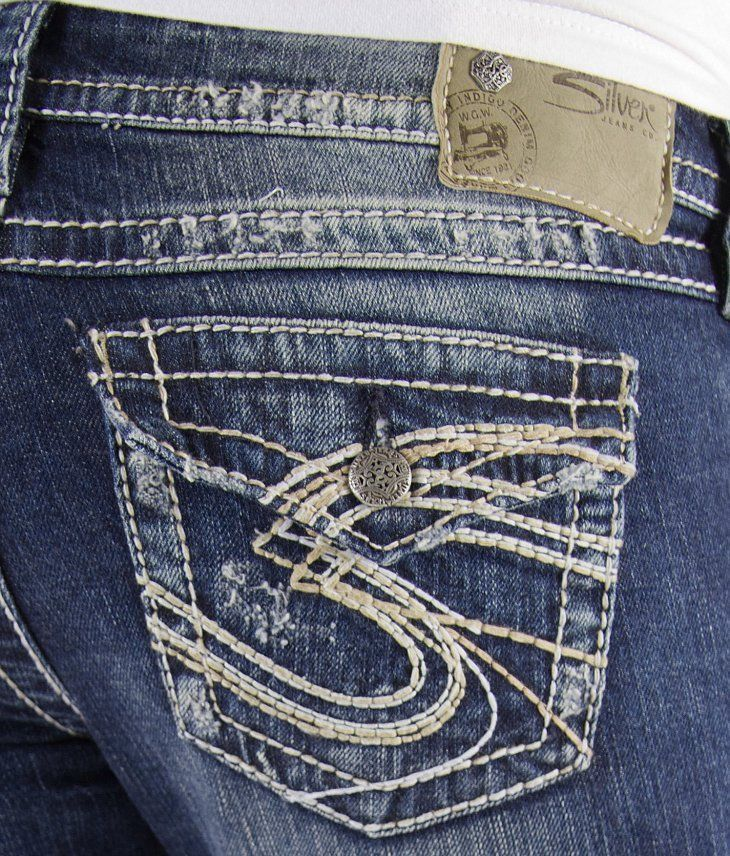b6c26aa07b9e7 NEW Women s SILVER JEANS Low Rise Pioneer Flap Distressed Stretch Jean 30 x  31⚜  SilverJeans  BootCut
