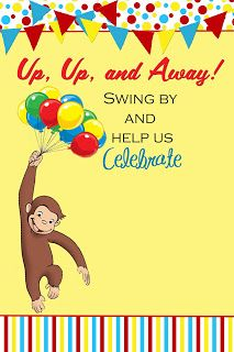 Curious George Party Invitation The
