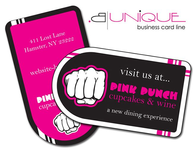 Awesome unique shaped business cards using pink and black layout awesome unique shaped business cards using pink and black layout with combination of white and colourmoves