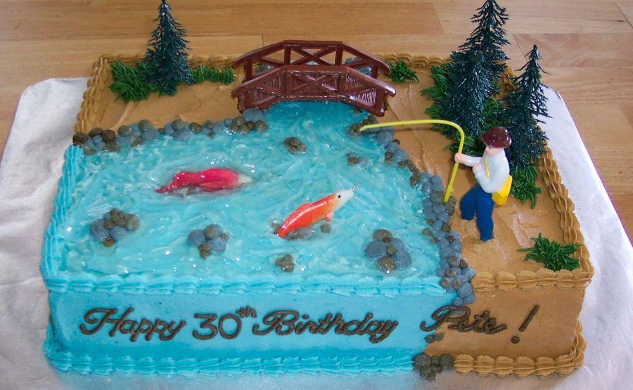 Enjoyable Fishing Theme Fish Cake Birthday Dad Birthday Cakes Funny Birthday Cards Online Eattedamsfinfo