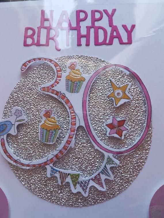 Handmade Happy Birthday Card 30th. Glitter, Stars, Bird