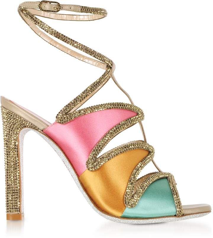RENé CAOVILLA Designer Shoes, Satin and Strass High Heel Sandals