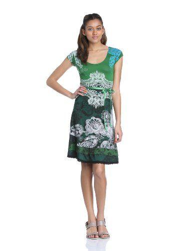 Desigual Damen Kleid PARIS, Knielang, Gr. 38 (Herstellergröße: M), Grün (Verde Mckennan)38 (DE S/FR M)