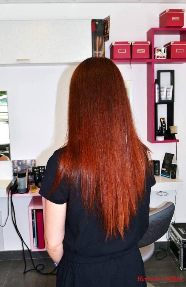 ombr hair cuivr rouge r alis au salon herv ou coiffure. Black Bedroom Furniture Sets. Home Design Ideas