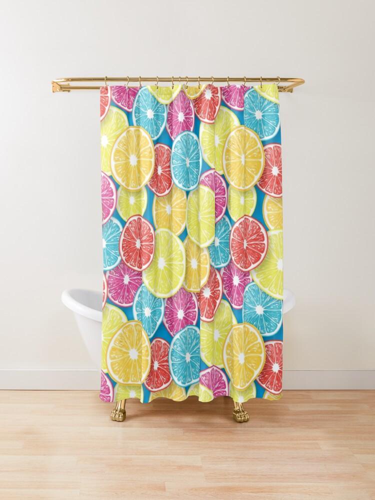 citrus fruit slices pop art shower